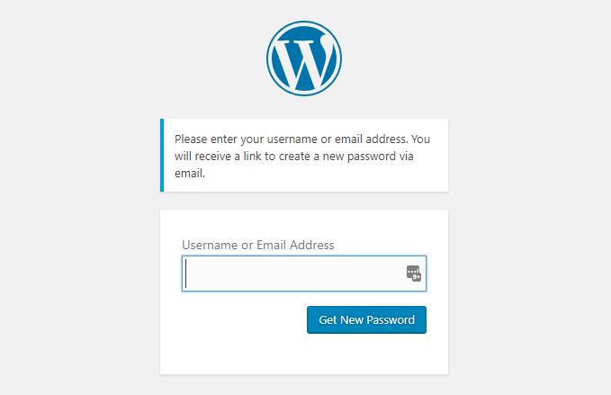 WP Forgot Password Step 2