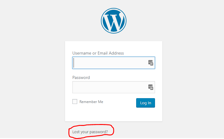 WP Forgot Password Step 1